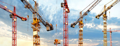 Cranes panorama Royalty Free Stock Photos
