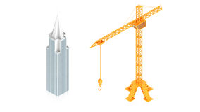 Cranes in panoramic picture Stock Photography