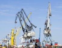 Cranes at port. Several heavy duty cranes at port Stock Photo