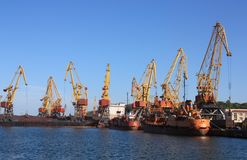 Cranes in a port Royalty Free Stock Images