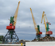 Cranes in a port. Three cranes in a port Royalty Free Stock Photo
