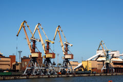 Cranes in a port Royalty Free Stock Photos