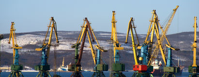 Cranes in port Stock Photos