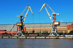 Cranes in port Royalty Free Stock Image