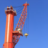 Cranes at port area and blue sky Royalty Free Stock Photos
