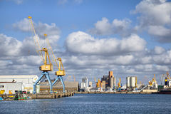 Cranes in the port of Brest, France Royalty Free Stock Photos