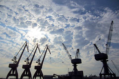 Cranes in a port Stock Photo