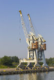 Cranes in the port of Gdansk, Poland Stock Photos