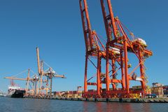 Cranes in port of Gdynia Stock Photo