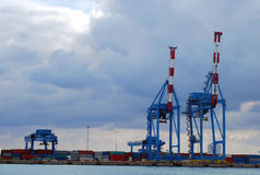 Cranes in the port Stock Photos