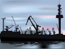 Cranes in port illustration Royalty Free Stock Photography