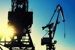 Cranes at the port for loading on a background of the sun and sk Royalty Free Stock Photos