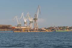 Cranes in the port of Pula stock photos