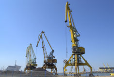 Cranes on the port quay Royalty Free Stock Photo