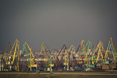 Cranes in port stock image