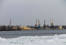 Cranes in the  port on the river Dnieper Stock Images