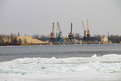 Cranes in the  port on the river Dnieper Stock Photo