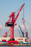 Cranes in Port of Rotterdam, Netherlands royalty free stock image