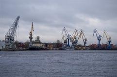 Cranes in the port of Saint Petersburg Stock Photo