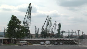 Cranes at the port of Varna, Bulgaria stock footage