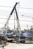 Cranes replace cement bridge builder. Royalty Free Stock Image