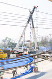 Cranes replace cement bridge builder. Royalty Free Stock Photo