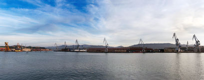 Cranes in the river of bilbao Stock Images
