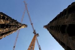 Cranes at Sagrada Familia Stock Image