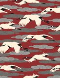 Cranes  - seamless wallpaper. Seamless pattern with birds and clouds Stock Photos