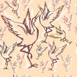 22 crane wallpaper. Cranes seamless wallpaper on a beige background Royalty Free Stock Images