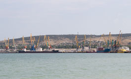 Cranes in the seaport on the Black Sea royalty free stock image