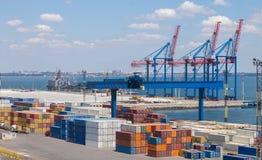 Cranes in seaport Stock Photo