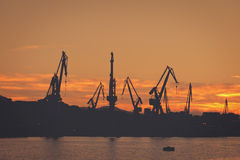 Cranes in Sestao Royalty Free Stock Images