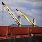Cranes on a Ship Building Site Royalty Free Stock Images
