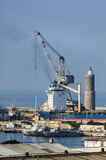 Cranes & ships in Civitavecchia port Stock Photos
