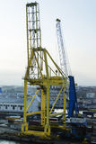 Cranes & ships in Livorno port Stock Image