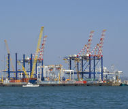 Cranes in a shipyard Royalty Free Stock Image