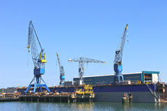 Cranes in shipyard Royalty Free Stock Image