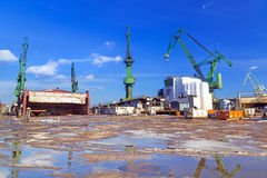 Cranes of shipyard in Gdansk Royalty Free Stock Photo