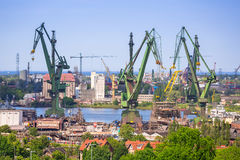 Cranes of the shipyard in Gdansk Royalty Free Stock Images