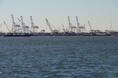 Cranes in shipyard Royalty Free Stock Photos