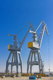 Cranes in the shipyard. Stock Photo