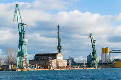 The cranes at Gdansk Shipyard. Stock Images