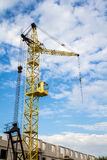 Cranes side. View, construction site. Buliding and architecture Royalty Free Stock Photos