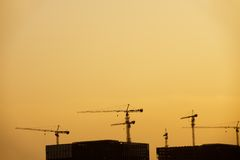 Cranes silhouette Royalty Free Stock Photography