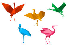 Cranes, storks and herons birds Stock Images