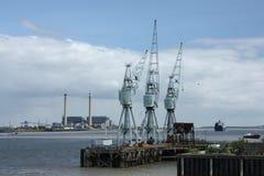 Cranes on the Thames Estuary, Gravesend, Kent, UK stock image