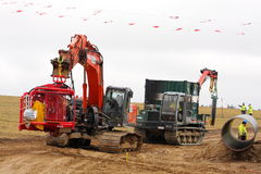 Cranes on tracks transporting a special device Stock Photo