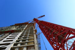 2 cranes. Two cranes working in a clear sky day Stock Photo