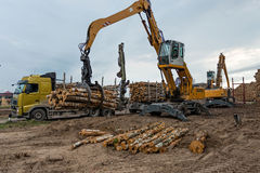 Cranes at warehouse territory logs are unloaded from the truck. Stock Photography